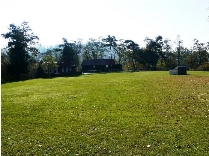 Blick über den Hundeplatz auf das Vereinsheim und das überdachte Außengelände