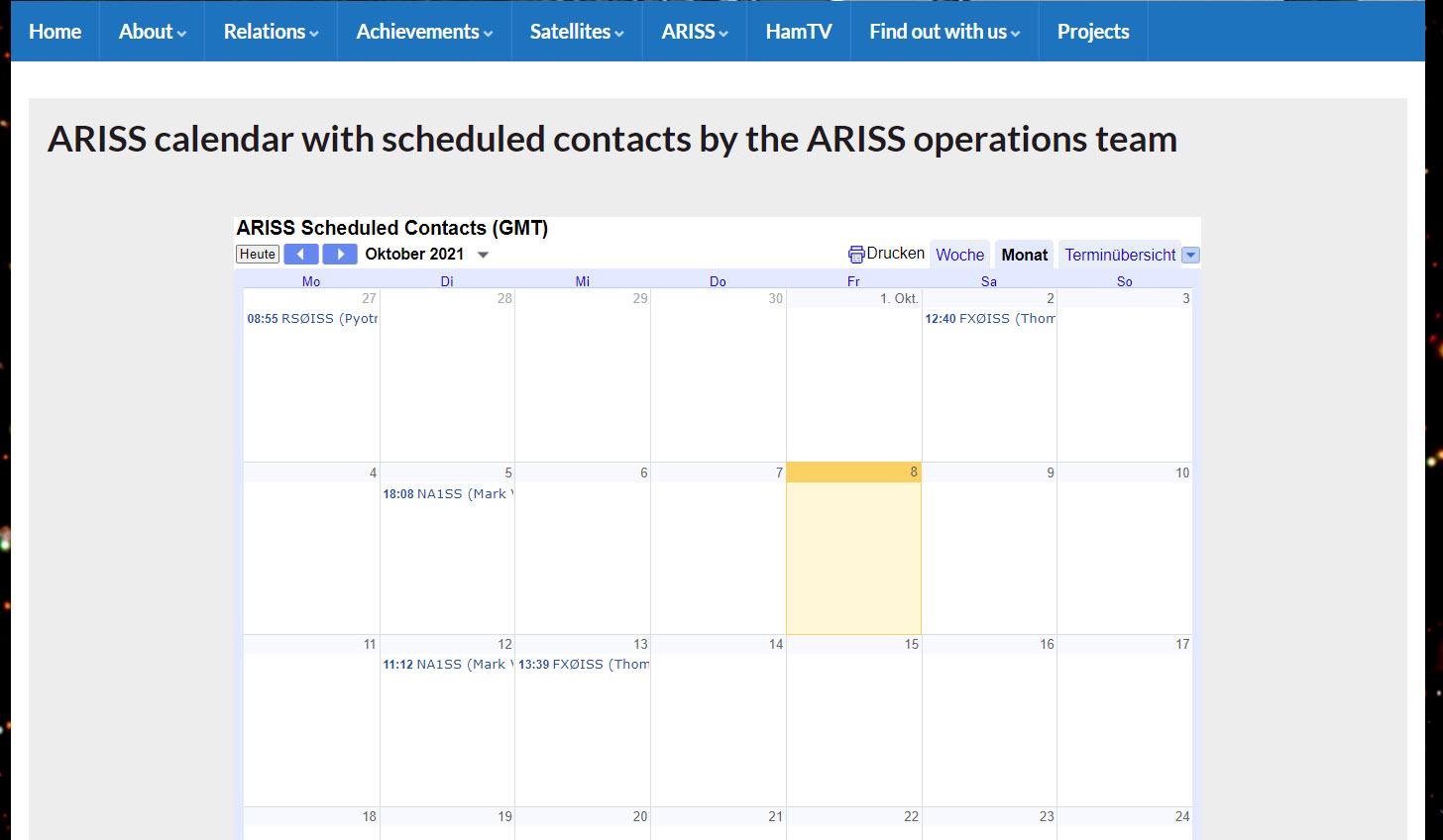 ARISS Kalender - Keinen Kontakt mehr verpassen!