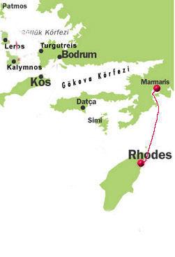 Route von Rodos nach Marmaris