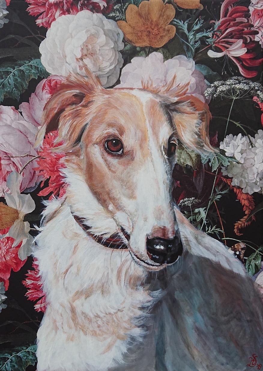 50 x 70 cm Blumentapete auf Leinwand mit Acrylfarben gemalt