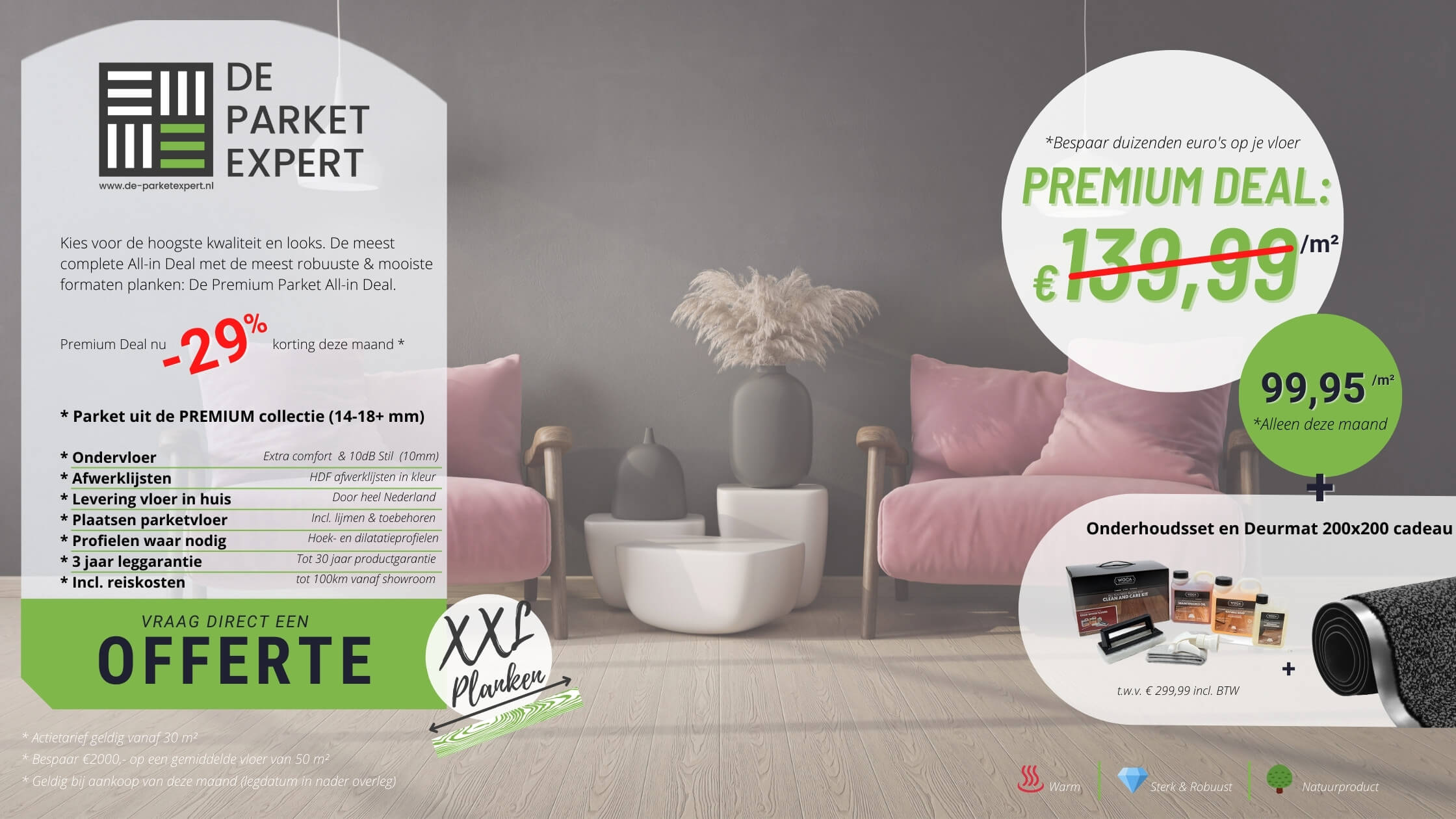 Premium parket deal biedt topkwaliteit tegen scherpe prijs