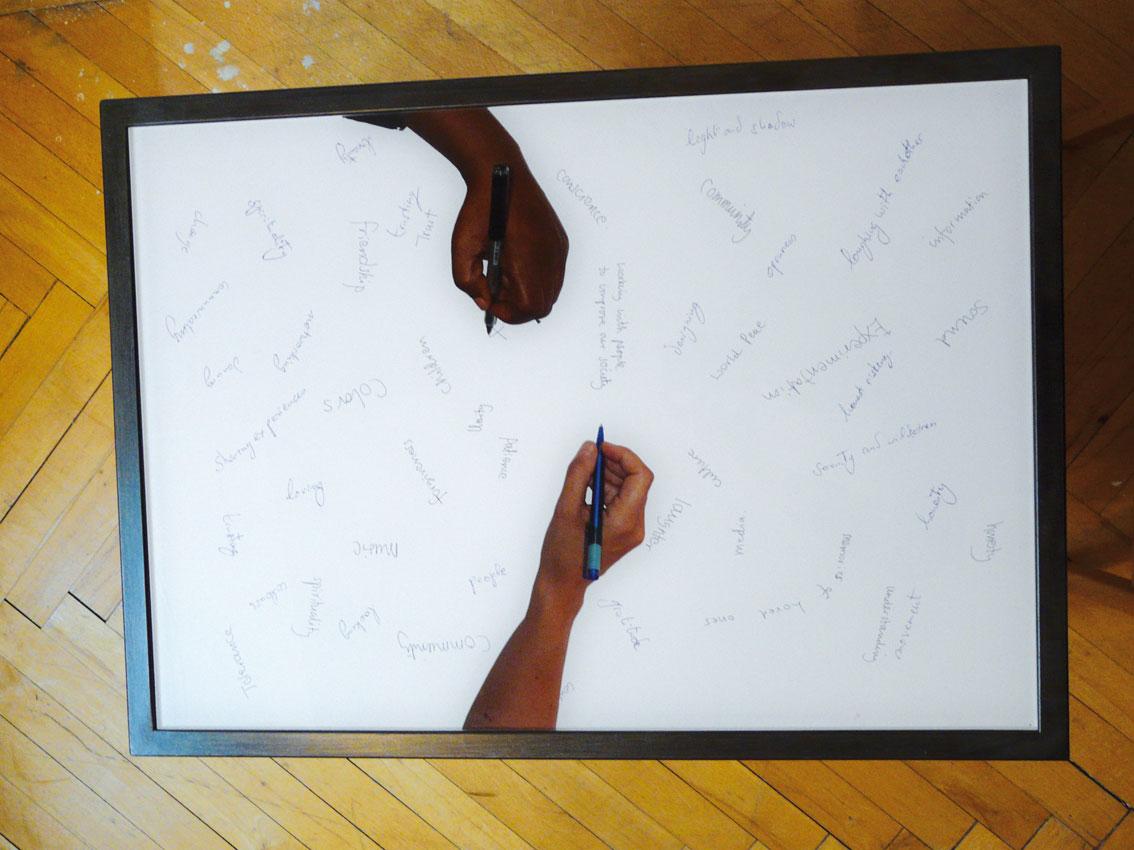 common base table, C-prints hinter Akryl eingelegt in 2 Metalltischen, Tischplatte: 42 x 60 cm, ICW und Ndidi Dike, 2006