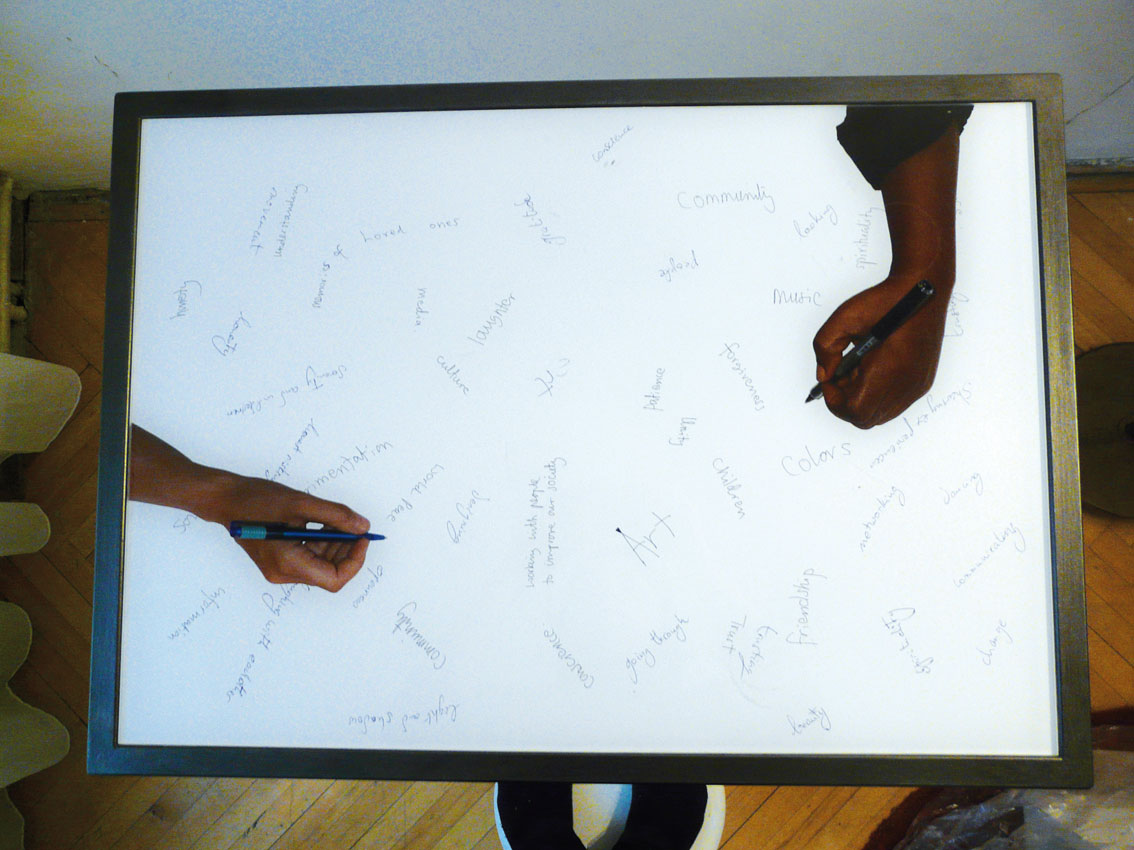 common base table, C-print under acrylic, 18.2 x 25.3 in, ICW and Ndidi Dike, 2006