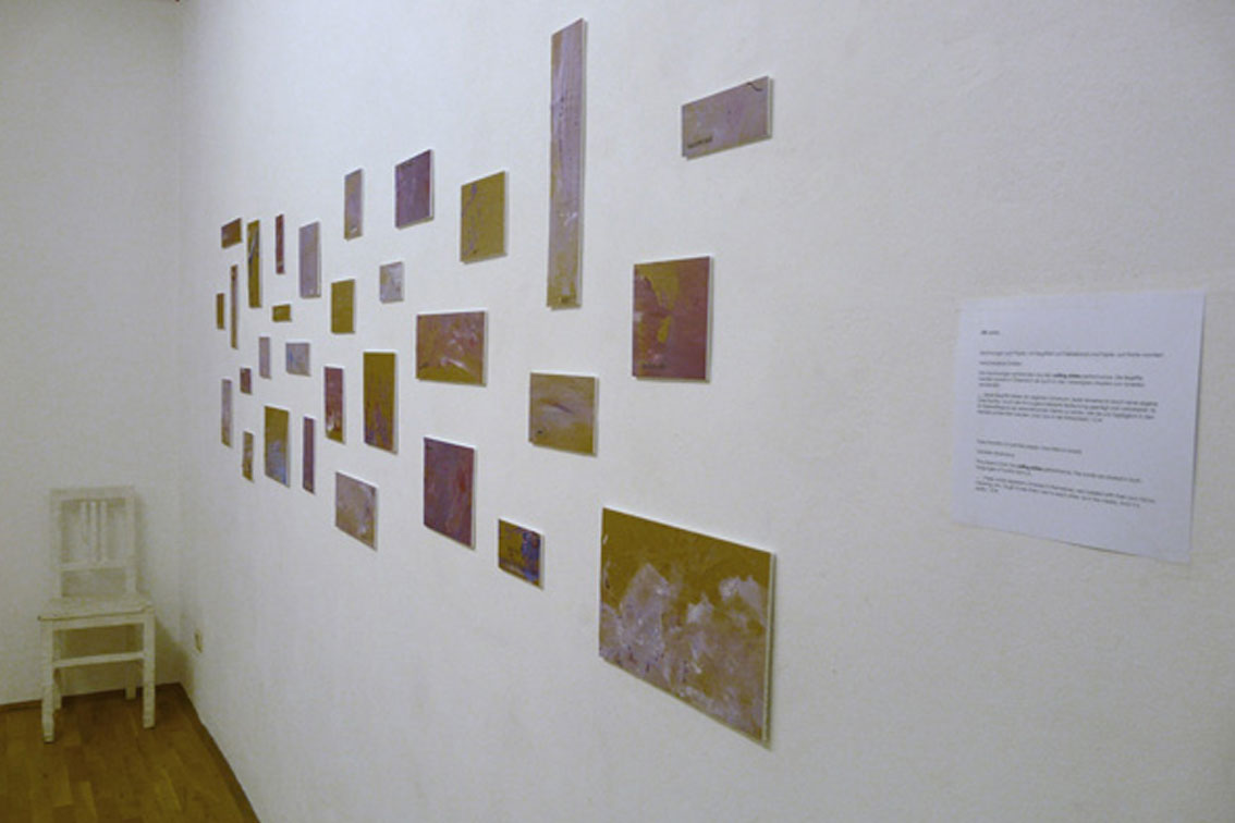 OK, 30 paintings on paper, with tape transfers and paper, mounted on board, from 6 x 6 to 30 x 7 in, ICW and Leslie Fry, 2009