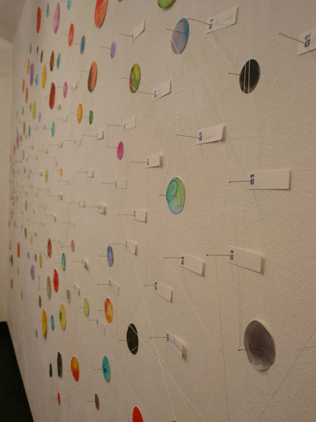 colour-signs of contact, mixed-media with cardboard, pins and thread, installation on the wall, 220 x 500 cm, ICW und Morakot Ketklao 2008