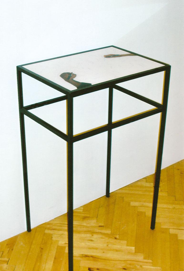 common base table, C-prints hinter Akryl eingelgt in 2 Metalltischen, Tischplatte: 42 x 60 cm, ICW und Ndidi Dike, 2006
