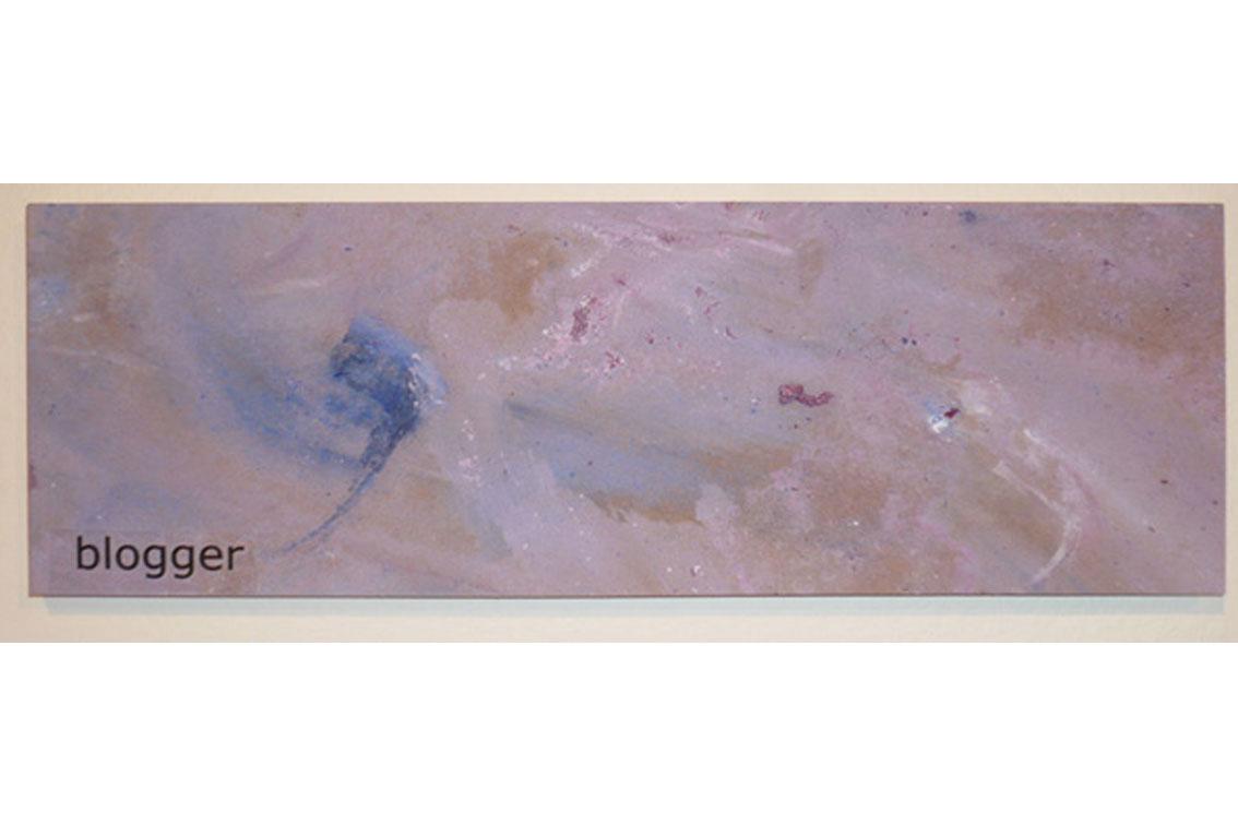 OK – blogger, Zeichnung auf Papier, mit Begriffen auf Klebeband und Papier, auf einer Platte befestigt, ICW und Leslie Fry, 2009