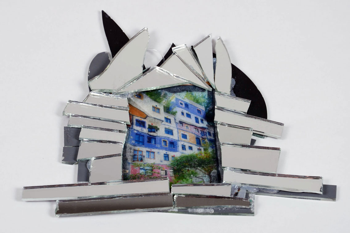 """Hundertwasser house reflection"", broken mirror pieces, prints on thin acrylic paint surfaces, silicone, double sided, 9.1 x 8.9 x 0.4 in, ICW and Leslie Fry, 2009, picture © Josef Leodolter"