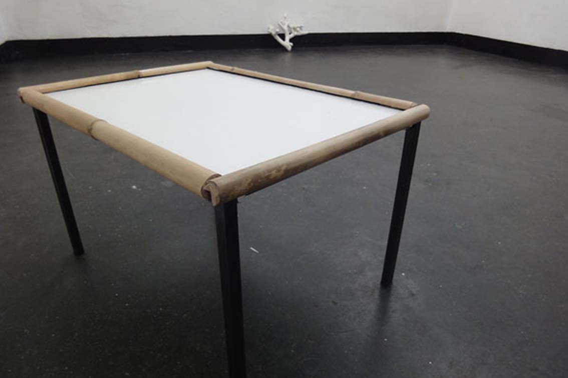table, metal table with bamboo, table: 46,2 x 64,2 x 39,5 cm, exhibition, ICW und Tessa Miller, 2013