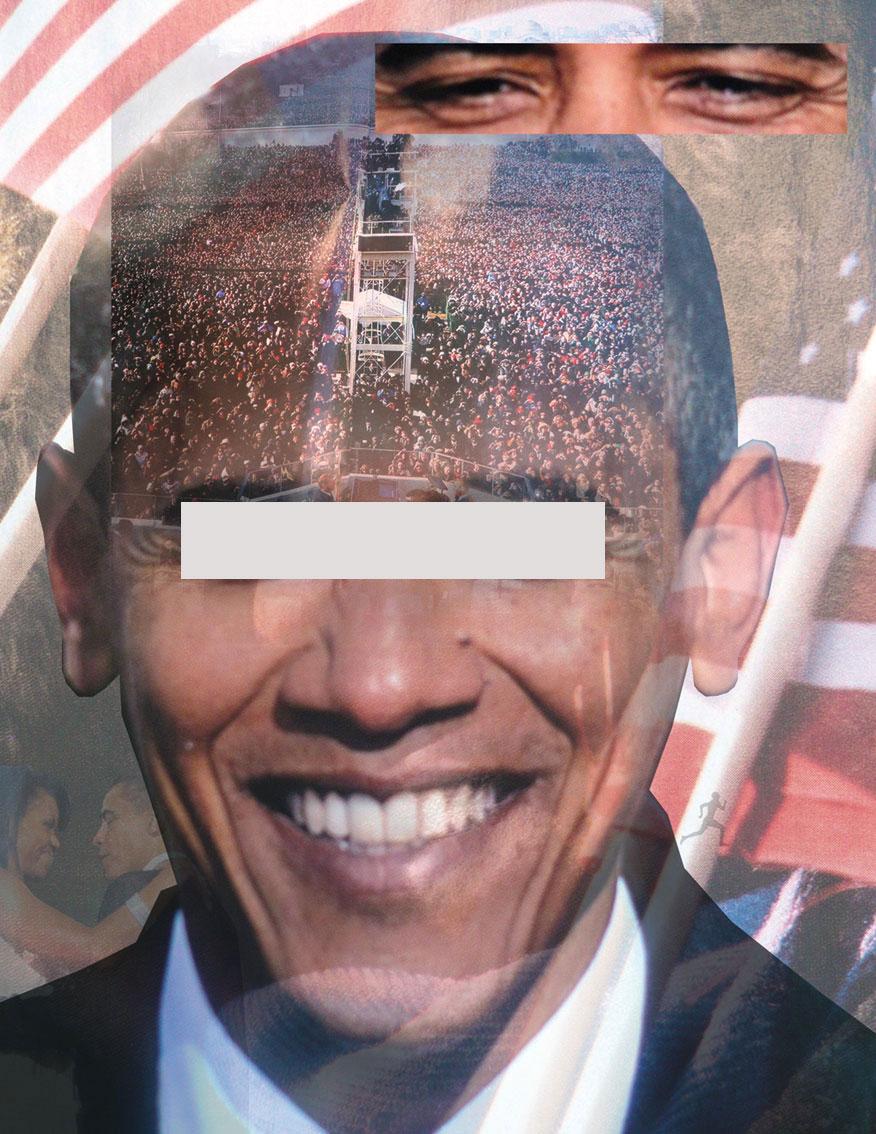 hopechange USA (bespiegelt), C-print, C-print, Digitale Collagen, Spiegelfolie, auf einer Platte fixiert, 21,6 x 28 cm, ICW und Leslie Fry, 2009