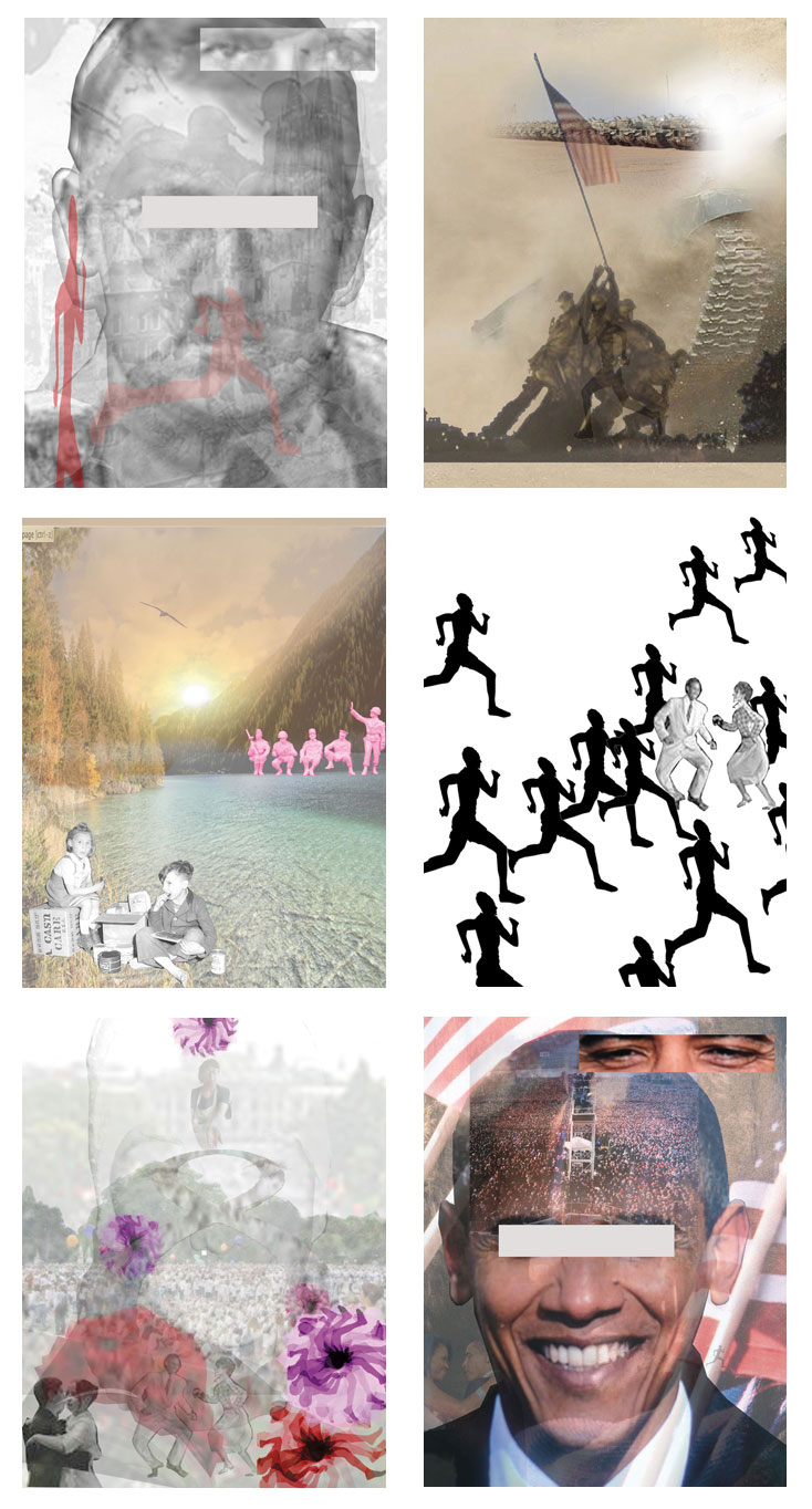 2war - 2peace - 2hope and change, C-print, Digitale Collagen, Spiegelfolie, auf einer Platte fixiert, Serie von 6 Stück, je 21,6 x 28 cm, ICW und Leslie Fry, 2009