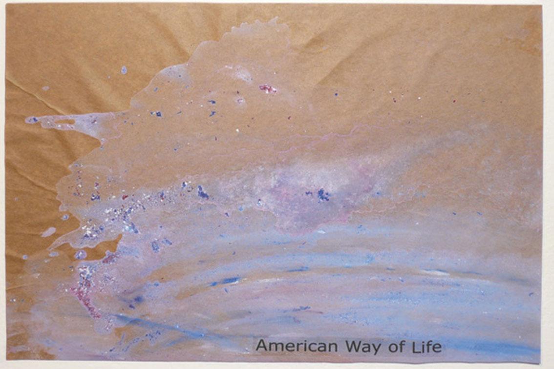 OK - American Way of Life, Zeichnung auf Papier, mit Begriffen auf Klebeband und Papier, auf einer Platte befestigt, ICW und Leslie Fry, 2009