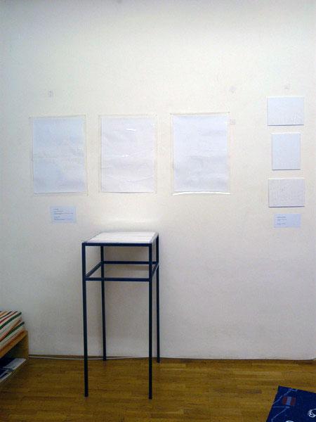 conversion tables, 3 Collagen auf weißem Papier, laminiert, 59 x 42 cm, ICW und Leslie Fry 2009