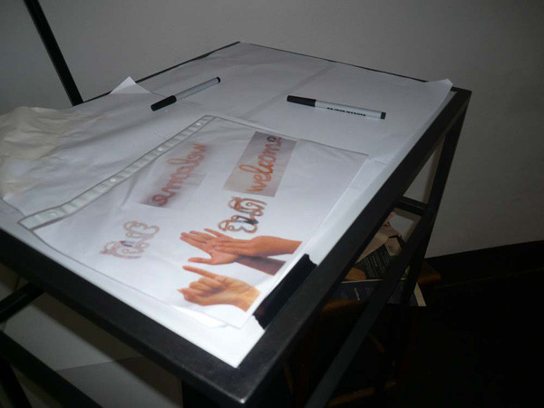 signs of contact, table base with live projection metal, C-prints under acrylic, table board: 16.5 x 23.6 in, table: 18.2 x 25.3 x 41.1, ICW and Morakot Ketklao 2008