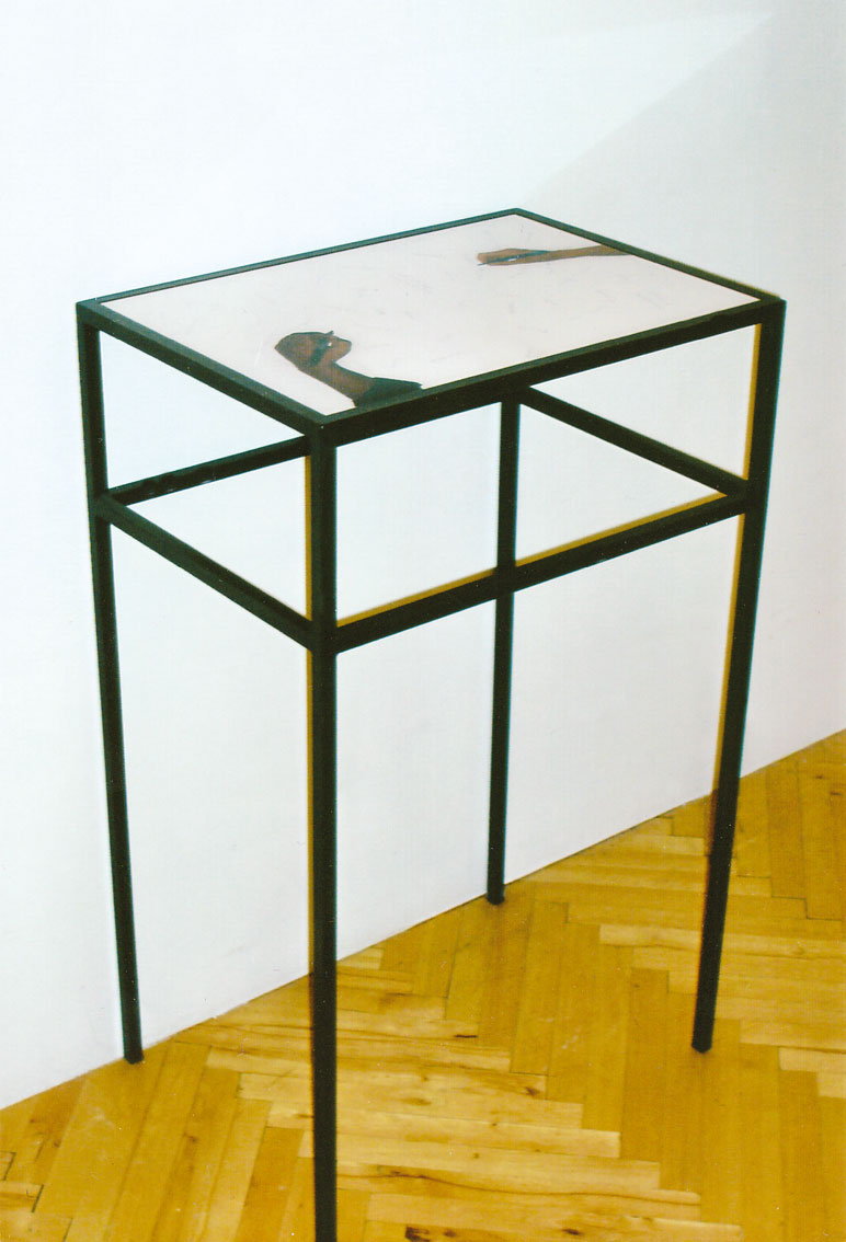 common base table, C-print under acrylic, bar table, 18.2 x 25.3 x 41.1 in, ICW and Ndidi Dike, 2006