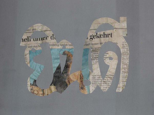 welcome curtain (Detail), Zeitung auf Stoff genäht, 220 x 140cm, ICW und Morakot Ketklao 2008