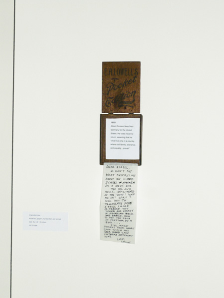 inspiration box, wood-box open on wall, papers, handwriting and printed, 3 x 5.1 in, ICW and Leslie Fry, 2009