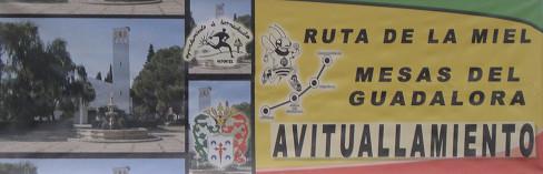 """Pancarta """"Ruta de la Miel"""" de la Zona de AVITUALLAMIENTO de Mesas del Guadalora. - Haz """"clic"""" en la imagen para ampliar."""