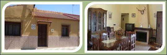 """Fachada y Salón de la CASA RURAL """"EL PINAR"""" de Mesas del Guadalora."""