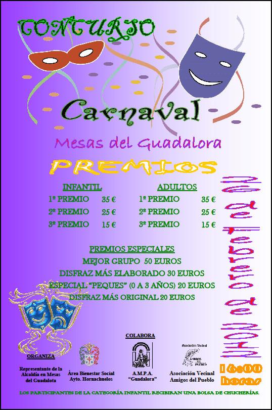 """Cartel CONCURSO """"CARNAVAL 2012"""" en Mesas del Guadalora - Haz """"clic"""" en la imagen para ampliar."""