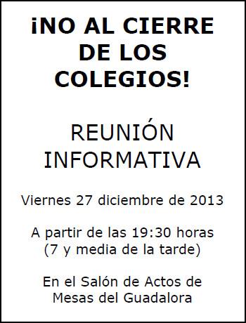 """REUNIÓN INFORMATIVA ¡NO AL CIERRE DE LOS COLEGIOS! - Haz """"clic"""" en la imagen para ampliar."""
