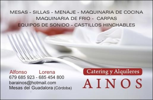 "CATERING Y ALQUILERES ""AINOS""."