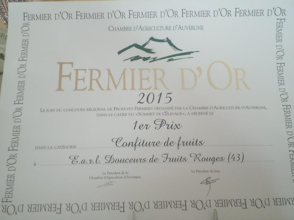 Octobre 2015 : 1 er prix au Concours régional Auvergne - Catégorie CONFITURES ! Ouhaaaaa !!!!