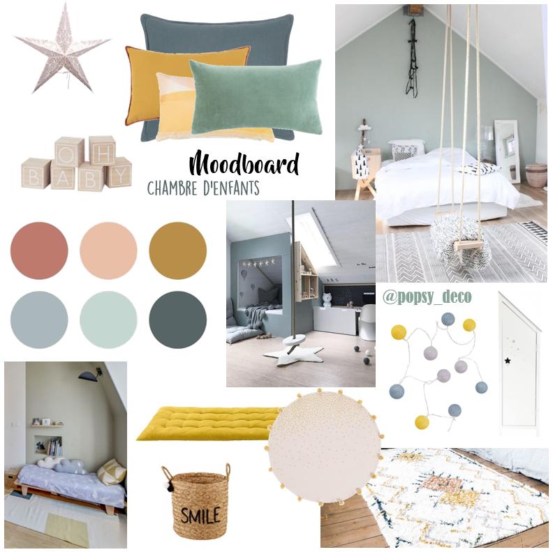 chambre enfant mansardée moodboard inspiration décoration mint moutarde fille garçon rotin osier