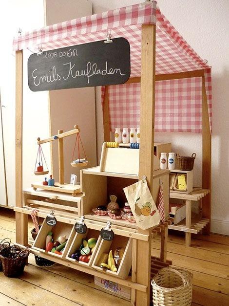 De chouettes créations pour la chambre de vos enfants ! marchand, magasin, théâtre,.. Au boulot Papa !