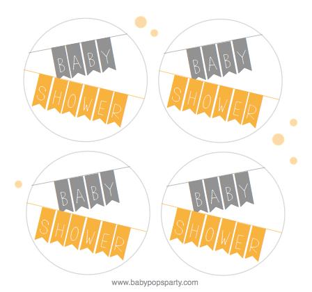 étiquettes free printable baby shower jaune gris gratuit télécharger