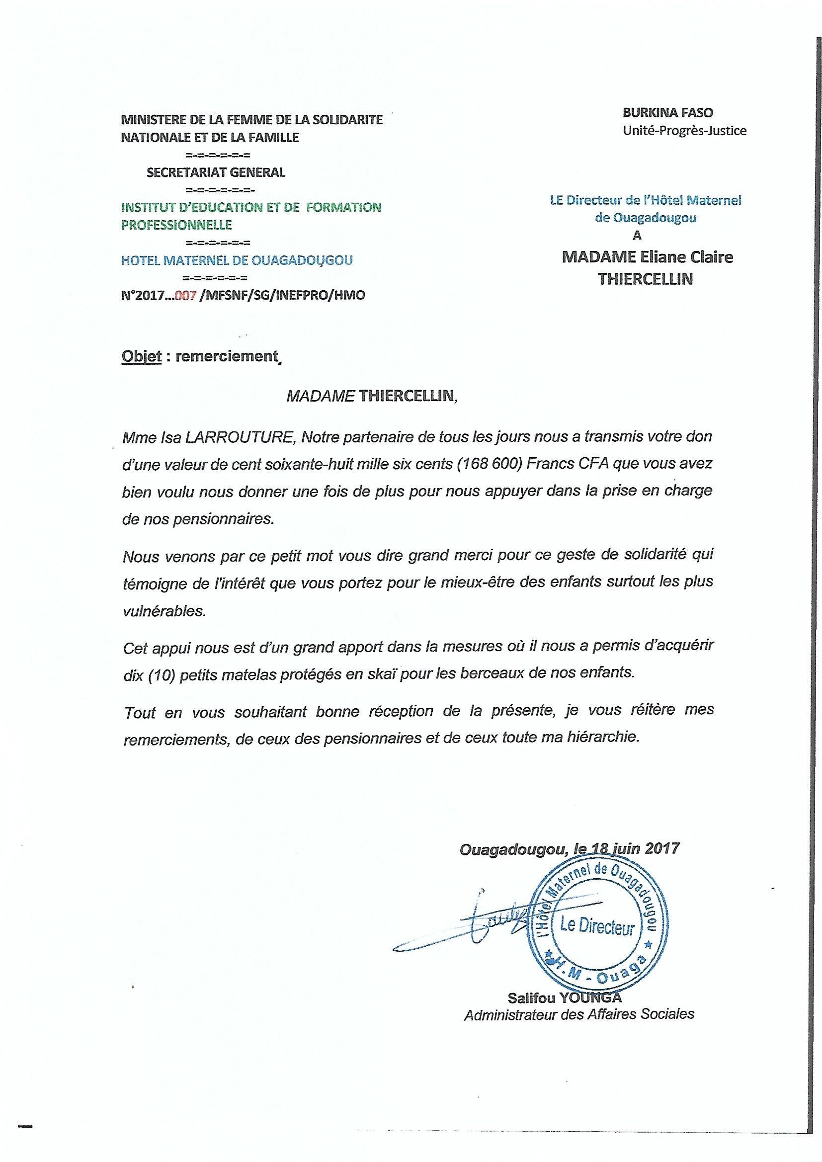 Lettre de remerciement РіВ un directeur