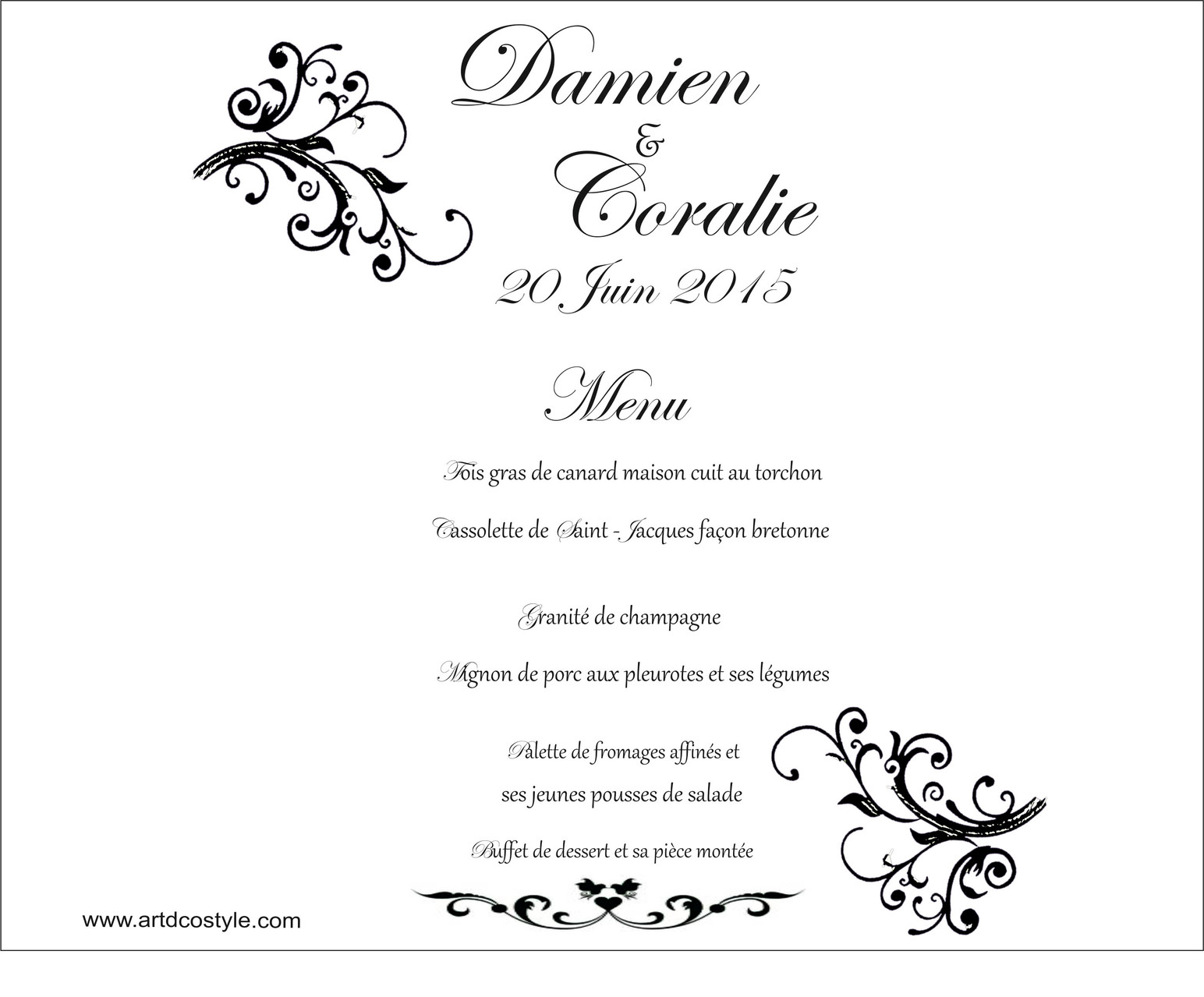 menu photophore artdcostyle d corations de mariage location housse de chaise mariage. Black Bedroom Furniture Sets. Home Design Ideas