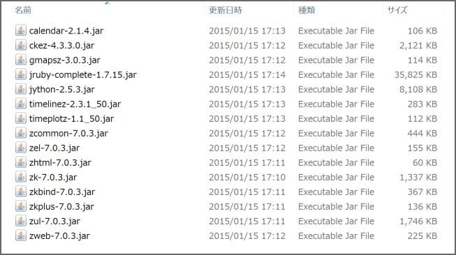 ダウンロードしたZK7でライブラリとして使用するjarファイル群