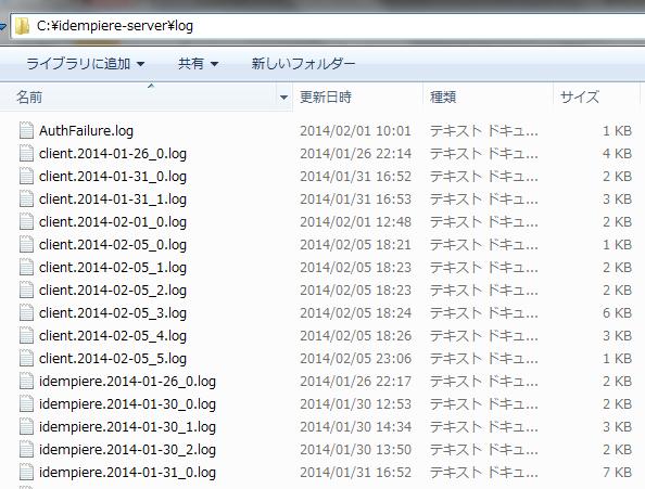 システムログファイル