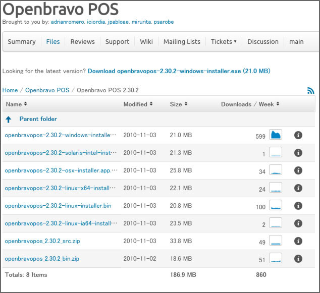 SourceForgeのObenBravo POSのプロジェクト