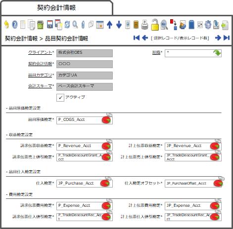 品目契約会計情報タブ