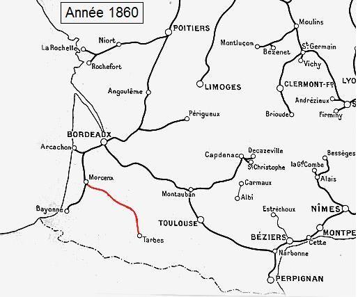 Ligne de chemin de fer Morcenx Tarbes trains rails