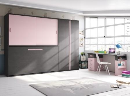 Acogedora habitación para adolescentes con colores  alegres en blanco, manzana y natural, con una innovadora cama abatible horizontal de 90x190, donde su parte alta está dividida en un armario con una puerta corredera, y otra parte con estanterías, a la v