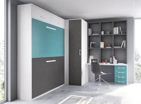 ¿Que espacio necesitamos para amueblar el dormitorio con dos camas abatibles horizontales?  Para acoplar dos camas plegables horizontales en un dormitorio deberemos disponer de dos paredes de largo si las camas son de 190 cms al menos de 210 cms aproximad