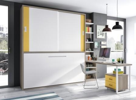 Excelente combinación con una cama abatible de 90x190 en sentido Horizontal, con una parte alta de puertas de armarios, con estantes centrales, y arriba todo maletero cerrado para almacenar.