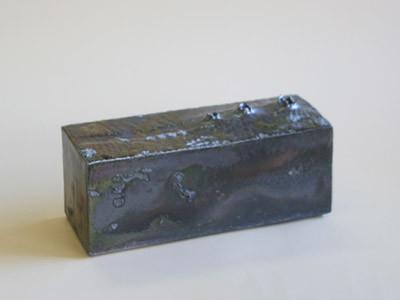 炭化窯変角花生