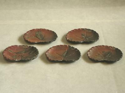 炭化窯変一葉組皿