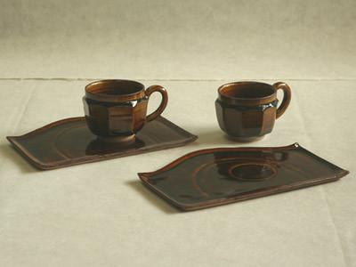 飴釉面取コーヒー碗セット