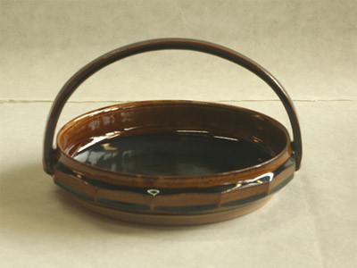 飴釉面取菓子鉢