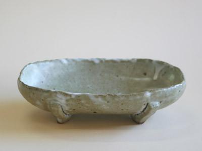 もみ灰釉楕円鉢