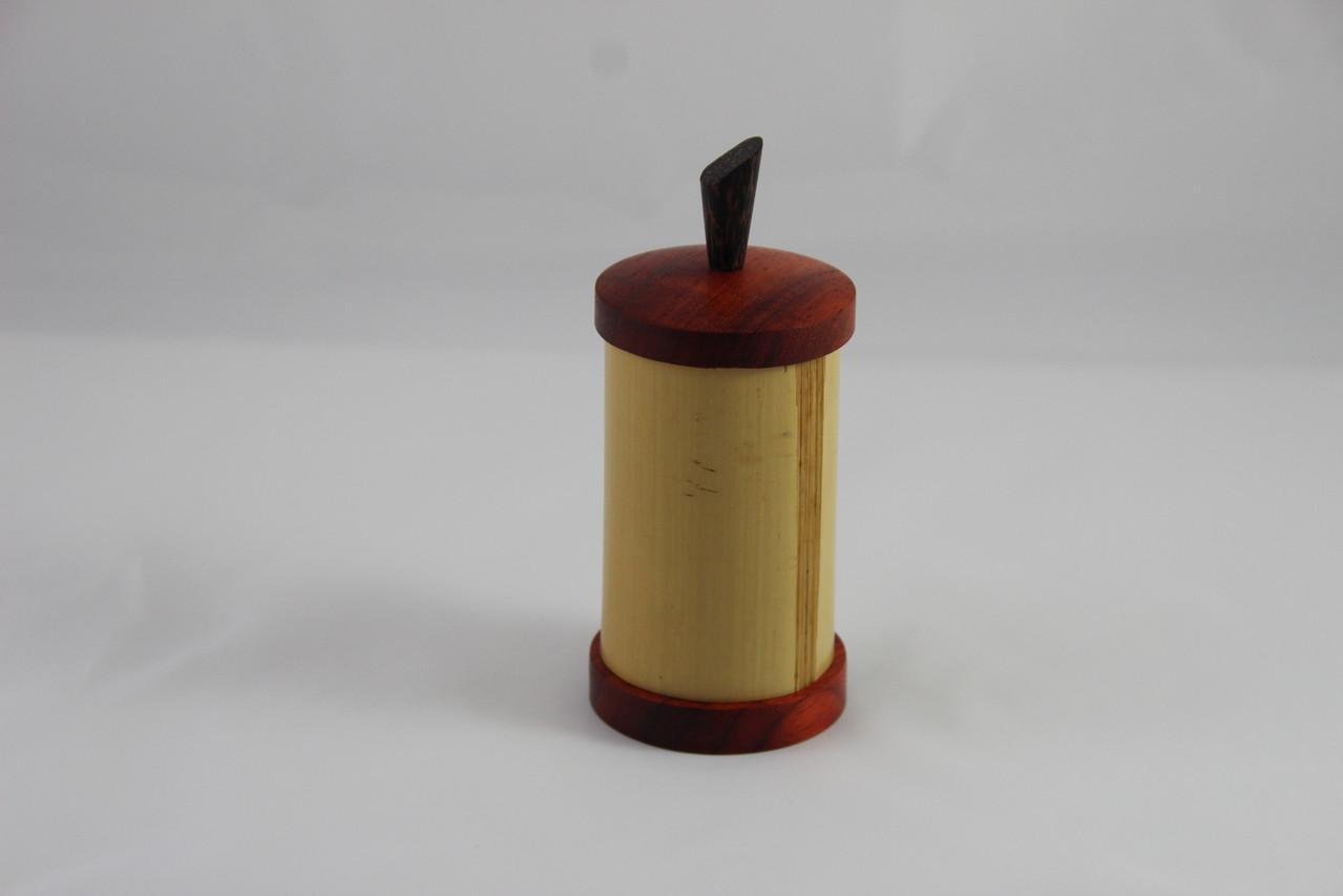 Bambusdose Deckel und Boden aus Bubinga D/65mm H/150mm