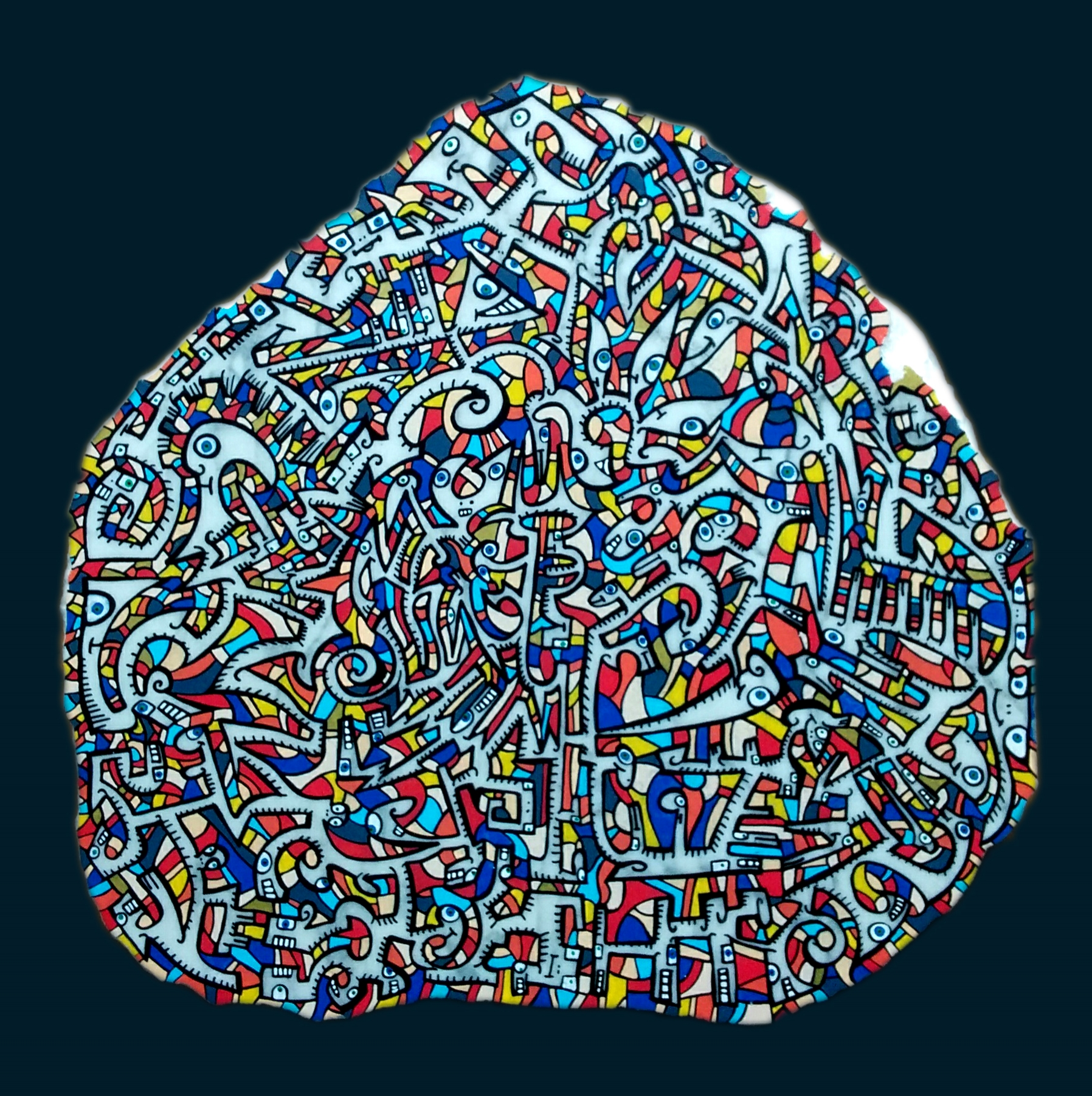 Marbre n°24/ taille : 36x34 cm/ épaisseur : 3cm/ feutres acrylique/ finition vernis satin/ 2015/ prix : 300 euros