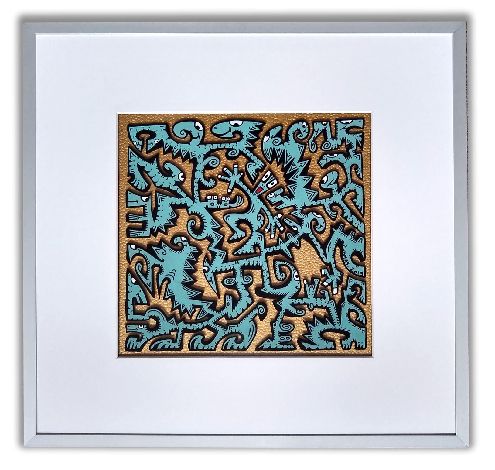 Titre: PT8 /feutres acrylique sur  sur verre synthétique/ cadre aluminium gris/fond papier effet cuir gold/ format dessin : 19/19 cm/format du cadre: 33/33cm  / prix: 80 euros