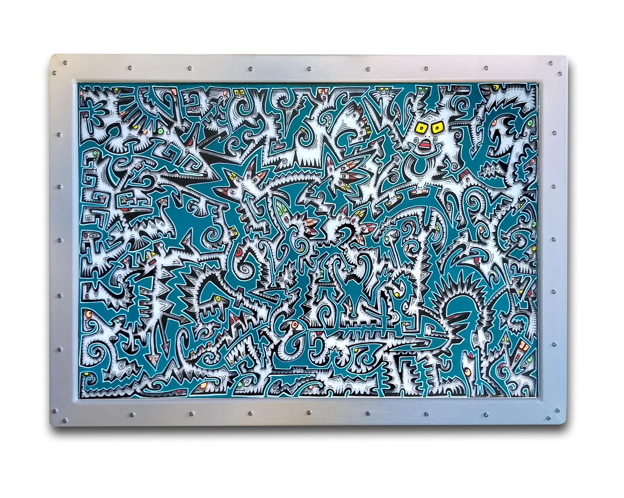 Titre : GT1 / feutres acrylique sur translucide/ cadre bois blanc satin/ format avec cadre : 50/70 cm/ prix: 200 euros