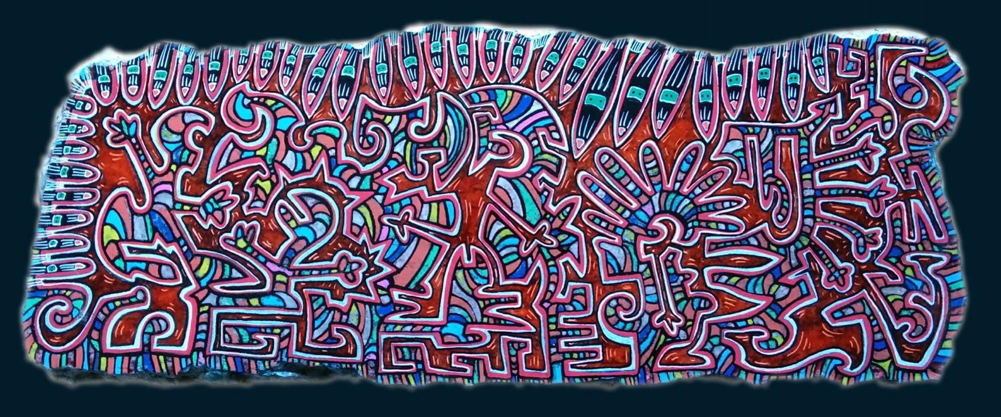 Marbre n°38/ taille : 39x15cm/ épaisseur : 3cm/ feutres acrylique/finition vernis satin/2016/ indisponible